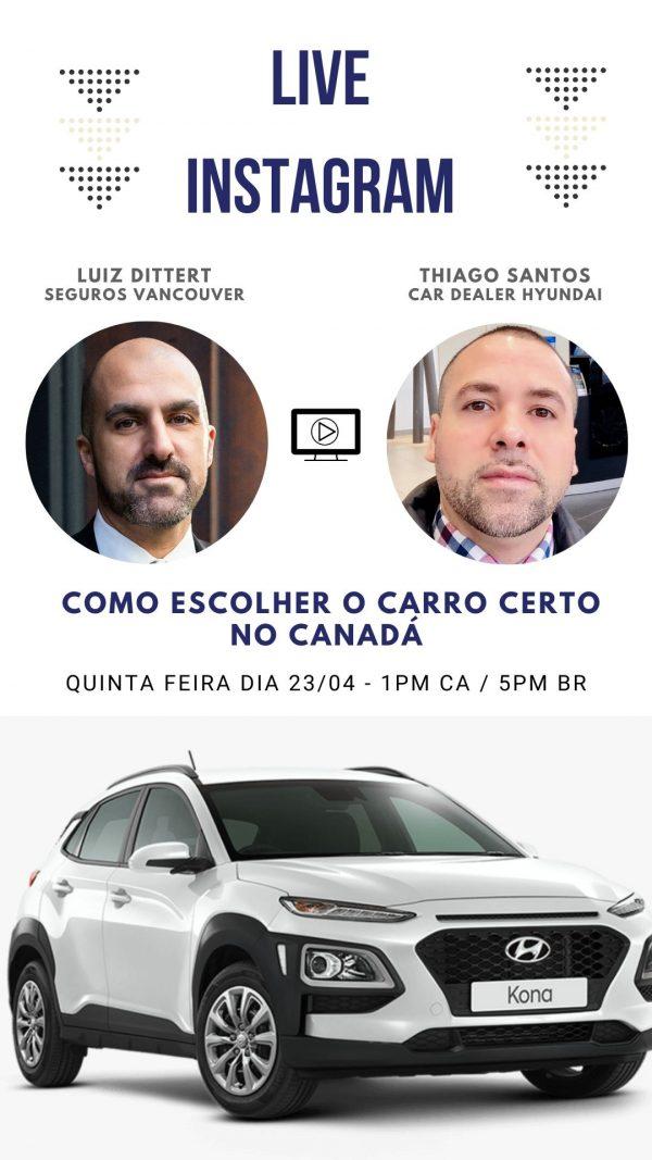 Live do Instagram com a Thiago Santos – Compra de carro no Canadá